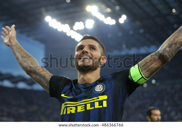 Milan, Italy, september 2016: Mauro Icardi celebrates goal during the football match between FC INTER vs JUVENTUS FC Italy league serie A  2016/2017 at San Siro stadium on september 18 2016