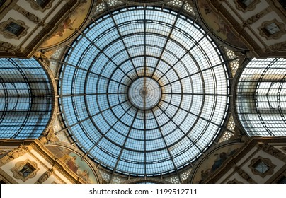 Milan Italy, September 2018. Close up of the ornate glass ceiling at Galleria Vittorio Emanuele II iconic shopping centre, located next to the Cathedral. Renaissance Revival architecture.