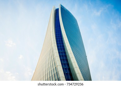 MILAN, ITALY - SEPTEMBER 20,2017: The new skyscraper Generali Headquarter designed by Zaha Hadid Architects at Citylife district.