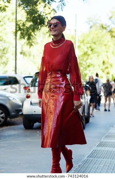 MILAN, ITALY - SEPTEMBER 21, 2017: Giovanna Battaglia Engelbert before FENDI Show at Milan Fashion Week Spring/Summer 2018