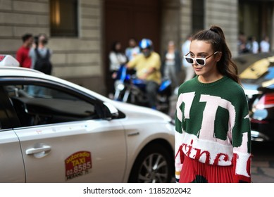Milan, Italy - September 21, 2018: Street style outfits before Iceberg fashion show during Milan Fashion Week - MFWSS19