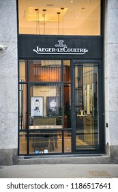 Milan, Italy - September 21, 2018: Jeager Le Coultre store in Milan. Montenapoleone area. Fashion week Jeager Le Coultre shopping.