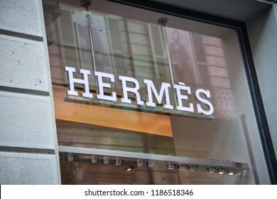 Milan, Italy - September 21, 2018: Hermes store in Milan. Montenapoleone area. Fashion week Hermes shopping.