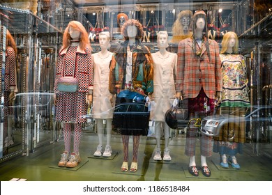 Milan, Italy - September 21, 2018: Gucci store in Milan. Montenapoleone area. Fashion week Gucci
