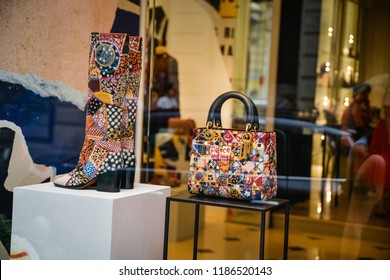 Milan, Italy - September 21, 2018: Dior store in Milan. Montenapoleone area. Fashion week Dior shopping.