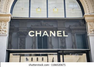 Milan, Italy - September 21, 2018: Chanel store in Milan. Montenapoleone area. Fashion week Chanel shopping.