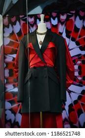Milan, Italy - September 21, 2018: Alexander McQueen store in Milan. Montenapoleone area. Fashion week Alexander McQueen shopping.