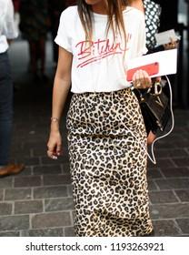 Milan, Italy - September 21, 2018: Street style outfits during Milan Fashion Week - - MFWSS19