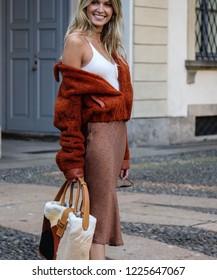 MILAN, Italy- September 21 2018: Maria Helena Bordon on the street during the Milan Fashion Week.