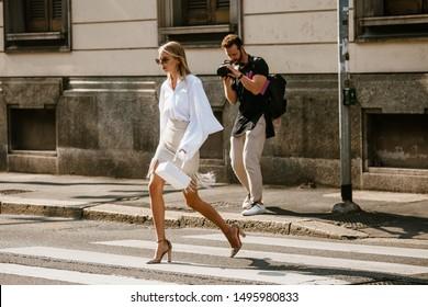 MILAN, ITALY - SEPTEMBER 21, 2018:  Leonie Hanne before Blumarine fashion show at Milan Fashion Week Spring/Summer 2019.