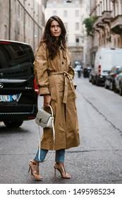 MILAN, ITALY - SEPTEMBER 21, 2018: Chiara Totire before Blumarine fashion show at Milan Fashion Week Spring/Summer 2019.