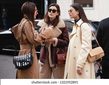 Milan, Italy - September 21, 2019: Street style outfits during Milan Fashion Week - - MFW19/20