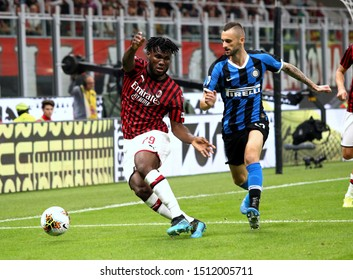 MILAN, ITALY - September 21, 2019:  Franck Kessie and Marcelo Brozovic in action during the Serie A 2019/2020 MILAN v INTER at San Siro Stadium.