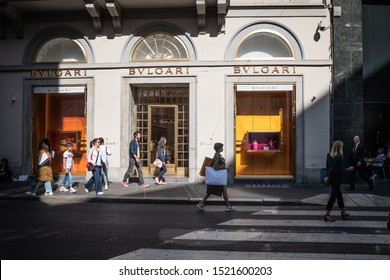 Milan, Italy – September 21, 2019: Bvlgari store in Milan. Montenapoleone area. Fashion week shopping