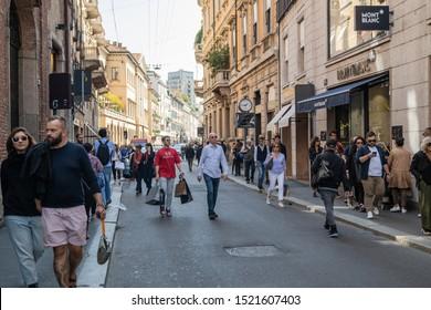 Milan, Italy – September 21, 2019: Montenapoleone street in Milan. Fashion week shopping