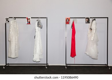 MILAN, ITALY - SEPTEMBER 21: Clothes racks the backstage just before Act n 21 show during Milan Women's Fashion Week on SEPTEMBER 21, 2018 in Milan.