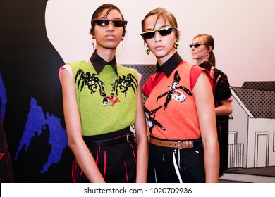 MILAN, ITALY - SEPTEMBER 21: Models are seen backstage before the Prada show during Milan Fashion Week Spring/Summer 2018 on September 21, 2017 in Milan, Italy.