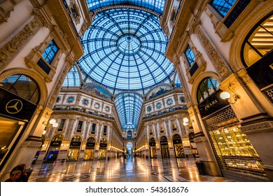 MILAN, ITALY - SEPTEMBER 22, 2016: Luxury Stores in Galleria Vittorio Emanuele II - shopping mall in Milan.