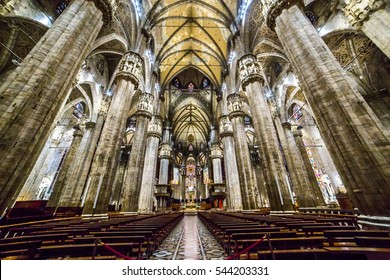 MILAN, ITALY - SEPTEMBER 22, 2016: Interior of famous Milan Cathedral - Duomo (Dome of Milan) in the main square in Milan, Piazza del Duomo.