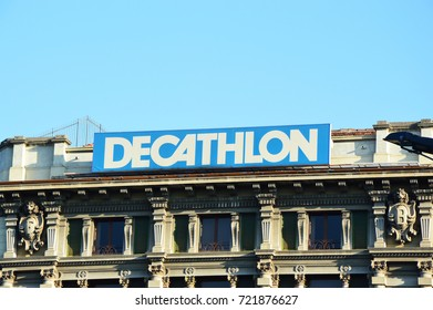 MILAN, ITALY - SEPTEMBER 22, 2017: Decathlon logo on the top of store in the center of Milan. Decathlon is a French company of sporting goods distribution.