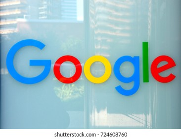 MILAN, ITALY - SEPTEMBER 22, 2017: Google sign logo of the brand