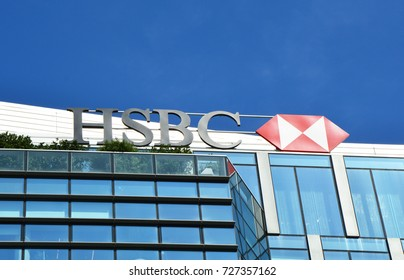 MILAN, ITALY - SEPTEMBER 22, 2017: HSBC sign on a bank branch in Milan. HSBC Holdings plc is the fifth largest bank by total assets in the world.