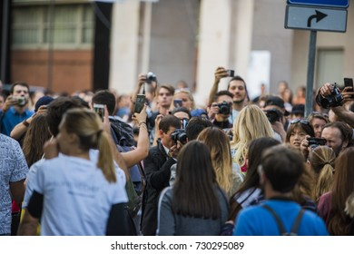 Milan, Italy - September 22, 2017: Chiara Feragni surrounded by fans and photographers before the Versace Fashion Show during Milan Fashion Week Spring/Summer 2018.