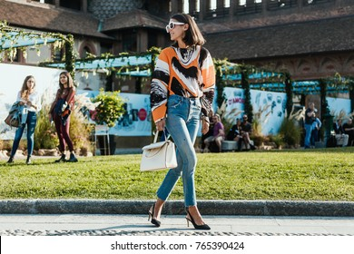 MILAN, ITALY - SEPTEMBER 22, 2017: Fasionable Woman before MARCO DE VINCENZO Show at Milan Fashion Week Spring/Summer 2018