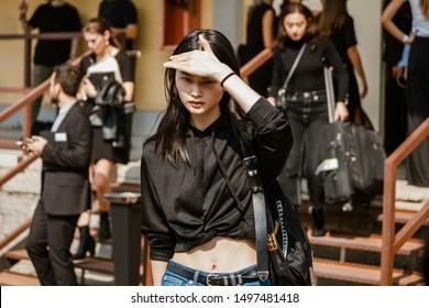 MILAN, ITALY - SEPTEMBER 22, 2018: He Cong after Roberto Cavalli fashion show at Milan Fashion Week Spring/Summer 2019.