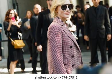MILAN, ITALY - SEPTEMBER 22: Actress Cate Blanchett before Georgio Armani fashion show at Milan Fashion Week Spring/Summer 2018.