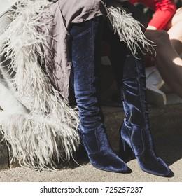 MILAN, ITALY - SEPTEMBER 22: Detail of shoes outside Armani fashion show during Milan Women's Fashion Week on SEPTEMBER 22, 2017 in Milan.