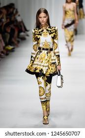 MILAN, ITALY - SEPTEMBER 22: Faretta walks the runway at the Versace show during Milan Fashion Week Spring/Summer 2018 on September 22, 2017 in Milan, Italy.