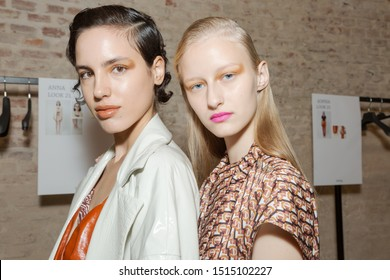 MILAN, ITALY - SEPTEMBER 22: Gorgeous models pose in the backstage just before Drome show during Milan Women's Fashion Week on SEPTEMBER 22, 2019 in Milan.