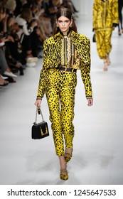 MILAN, ITALY - SEPTEMBER 22: Kaia Gerber walks the runway at the Versace show during Milan Fashion Week Spring/Summer 2018 on September 22, 2017 in Milan, Italy.