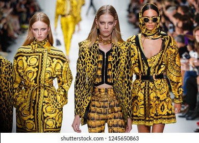 MILAN, ITALY - SEPTEMBER 22: Models walk the runway at the Versace show during Milan Fashion Week Spring/Summer 2018 on September 22, 2017 in Milan, Italy.