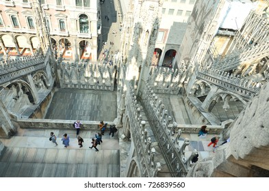 Milan, Italy - September 23, 2016: Crowds of people in the square, top view
