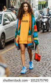MILAN, ITALY - SEPTEMBER 23, 2017: Famous model Chiara Scelsi before Antonio Marras fashion show at Milan Fashion Week Spring/Summer 2018.