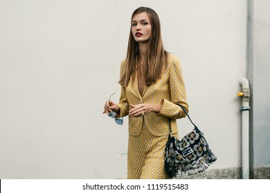 MILAN, ITALY - SEPTEMBER 23, 2017: Fasionable Woman after MISSONI Show at Milan Fashion Week Spring/Summer 2018