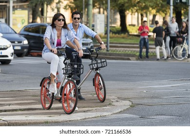 MILAN, ITALY - SEPTEMBER 23, 2017: now in Milan, chinese company Mobike provides an innovative bike sharing service