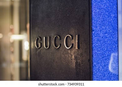 Milan, Italy - September 23, 2017: Close up of Gucci logo in a store in Milan.