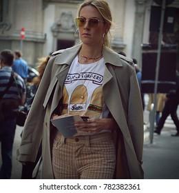MILAN, Italy- September 23 2017: Women on the street during the Milan Fashion Week