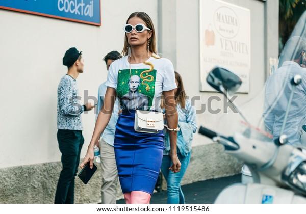 MILAN, ITALY - SEPTEMBER 23, 2017: Fasionable Woman wearing t-shirt with Putin portrait, seen after MISSONI Show at Milan Fashion Week Spring/Summer 2018