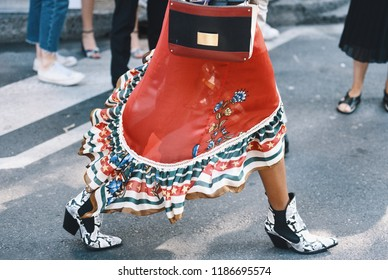 Milan, Italy - September 23, 2018: Street style outfits before Giorgio Armani fashion show during Milan Fashion Week - MFWSS19