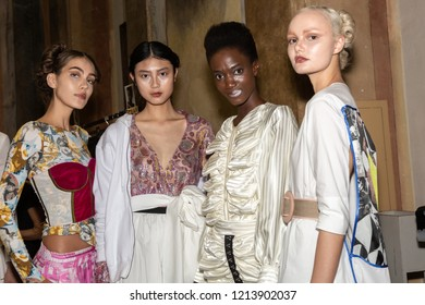 MILAN, ITALY - SEPTEMBER 23: Beautiful models pose in the backstage just before Francesca Liberatore show during Milan Women's Fashion Week on SEPTEMBER 23, 2018 in Milan.