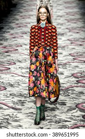 MILAN, ITALY - SEPTEMBER 23: A model walks the runway during the Gucci show as a part of Milan Fashion Week Spring/Summer 2016 on September 23, 2015 in Milan, Italy.
