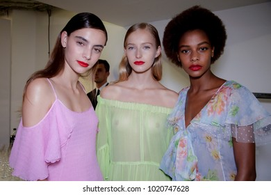 MILAN, ITALY - SEPTEMBER 23: Models are seen backstage ahead of the Blumarine show during Milan Fashion Week Spring/Summer 2018 on September 23, 2017 in Milan, Italy.