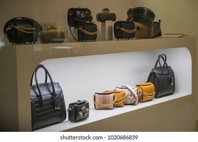 Milan, Italy - September 24, 2017: Alexander Mcqueen luxury bags in a store display in Milan.