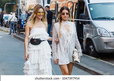 MILAN, ITALY - SEPTEMBER 24, 2017: Fashionable women before Trussardi fashion show at Milan Fashion Week Spring/Summer 2018.