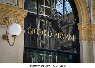 Milan, Italy - September 24, 2017:  Giorgio Armani store in Milan