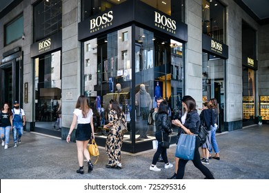 Milan, Italy - September 24, 2017:  Hugo Boss store in Milan. Fashion week shopping